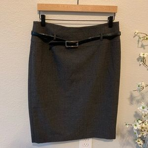 Charcoal Gray Black Belt Pencil Skirt 10